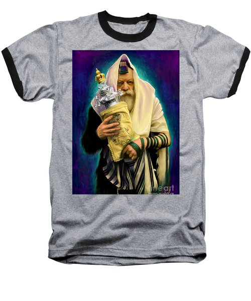 Baseball T-Shirt featuring the painting Lubavitcher Rebbe With Torah by Sam Shacked