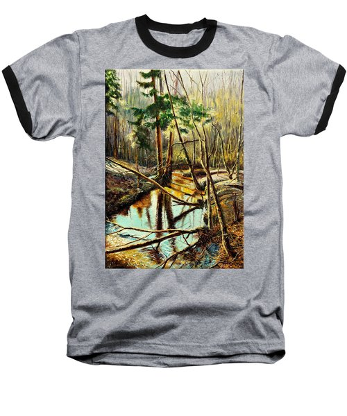 Baseball T-Shirt featuring the painting  Lubianka-1- River by Henryk Gorecki