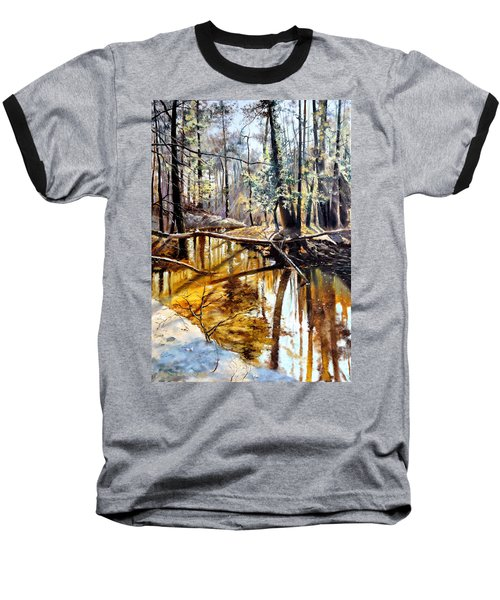 Baseball T-Shirt featuring the painting  Lubianka-2-river by Henryk Gorecki