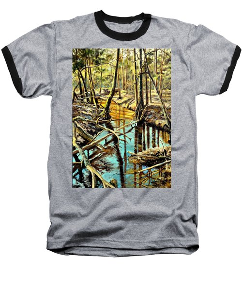 Baseball T-Shirt featuring the painting  Lubianka-3-river by Henryk Gorecki