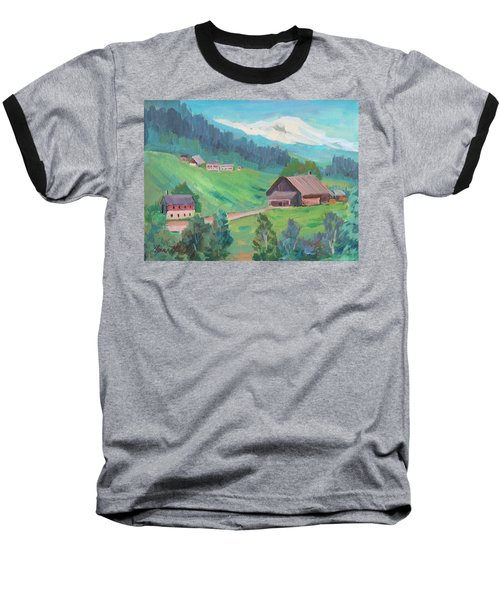 Baseball T-Shirt featuring the painting Lucerne Countryside by Diane McClary
