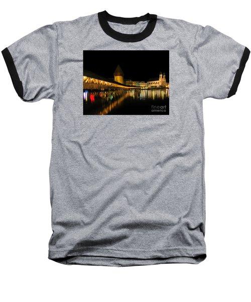 Lucerne Night Beauty II - Painting Baseball T-Shirt by Al Bourassa