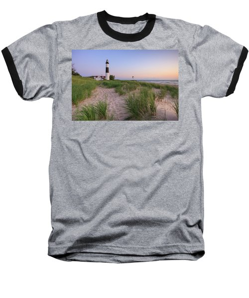 Baseball T-Shirt featuring the photograph Ludington Beach And Big Sable Point Lighthouse by Adam Romanowicz