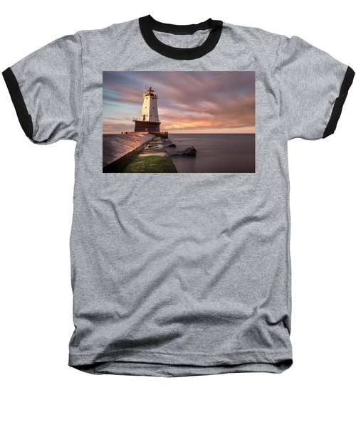 Baseball T-Shirt featuring the photograph Ludington Light Sunrise Long Exposure by Adam Romanowicz