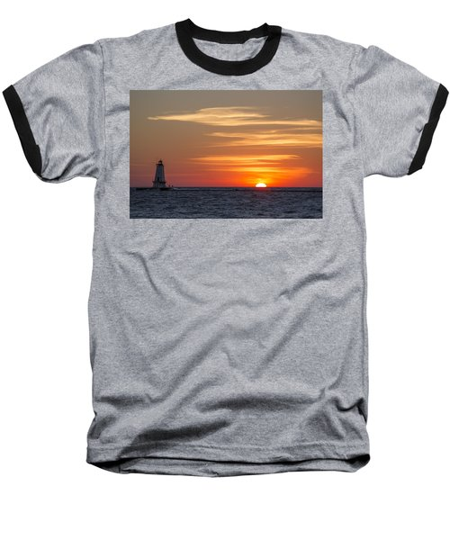 Baseball T-Shirt featuring the photograph Ludington North Breakwater Light At Sunset by Adam Romanowicz
