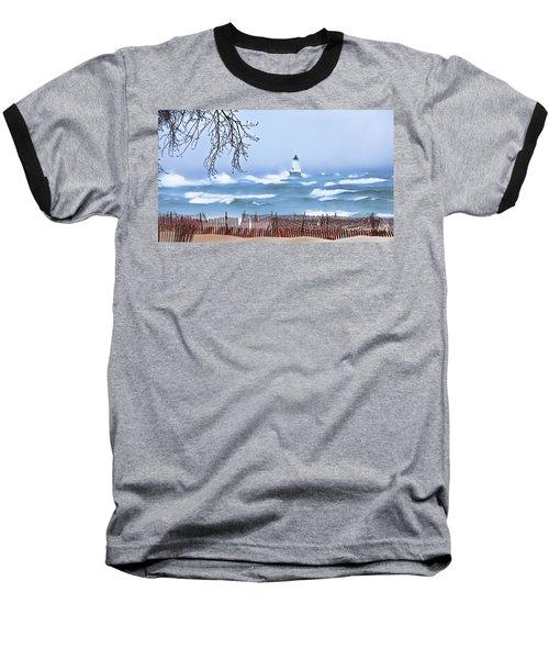 Ludington Winter Shore  Baseball T-Shirt by Dick Bourgault