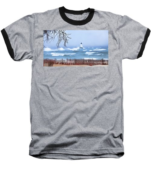 Ludington Winter Shore  Baseball T-Shirt
