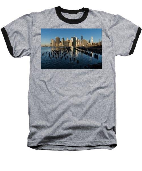 Luminous Blue Silver And Gold - Manhattan Skyline And East River Baseball T-Shirt