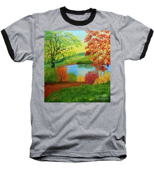 Baseball T-Shirt featuring the painting Luminous Colors Of Fall by Lee Nixon