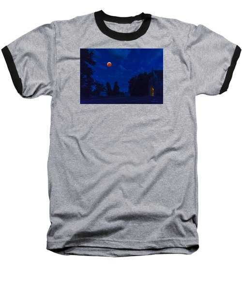 Baseball T-Shirt featuring the photograph Lunar Eclipse At The Ivy Chapel by Stephen  Johnson