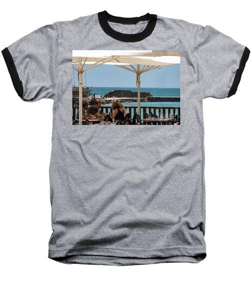 Baseball T-Shirt featuring the photograph Lunch At The Mediterranean by Mae Wertz