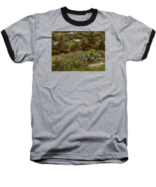 Lupine And Wild Roses Baseball T-Shirt by Jane Thorpe
