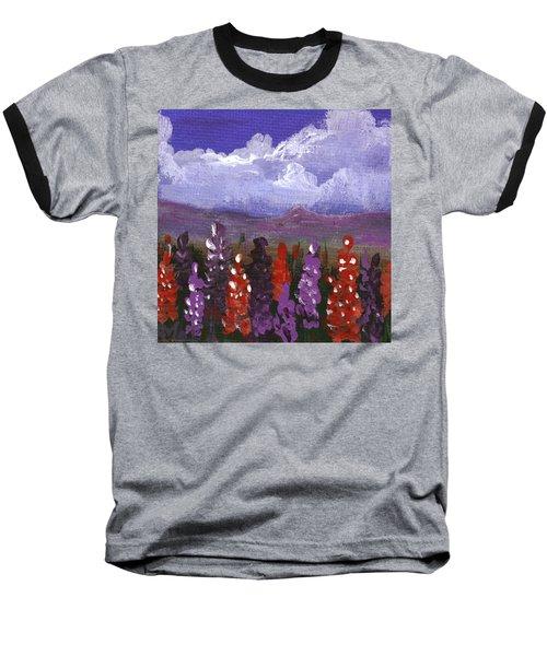 Baseball T-Shirt featuring the painting Lupine Land #1 by Anastasiya Malakhova