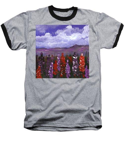 Baseball T-Shirt featuring the painting Lupine Land #2 by Anastasiya Malakhova