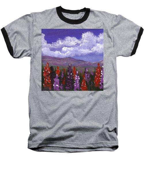 Baseball T-Shirt featuring the painting Lupine Land #3 by Anastasiya Malakhova