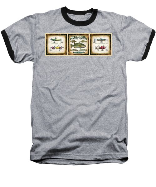 Baseball T-Shirt featuring the painting Lure Three Piece Panels by JQ Licensing Jon Q Wright