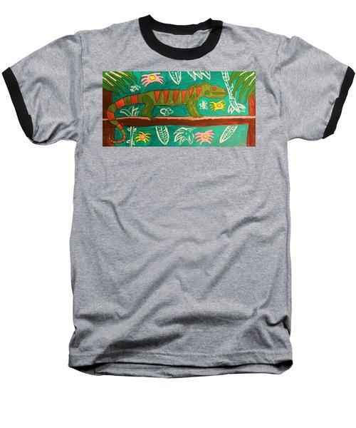 Lurking Iguana Baseball T-Shirt by Brandon Drucker