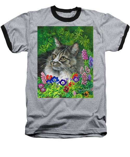Baseball T-Shirt featuring the painting Lurking In The Lupines by Val Stokes