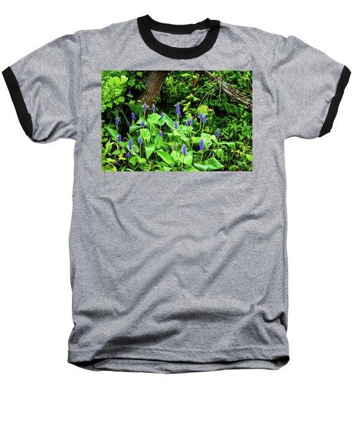 Lush Purple Flowers In The Woods Baseball T-Shirt