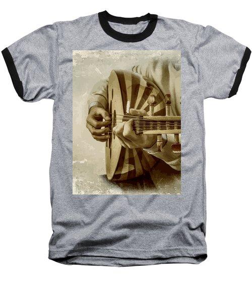 Grey Lutenist Baseball T-Shirt by Moustafa Al Hatter