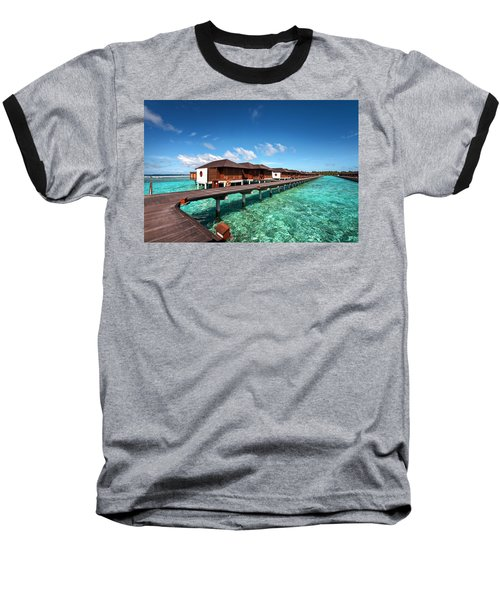 Baseball T-Shirt featuring the photograph Luxury Water Villas Of Maldivian Resort by Jenny Rainbow
