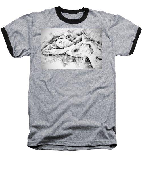 Lying Woman Figure Drawing Baseball T-Shirt