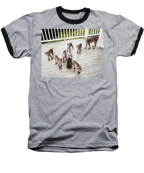 Lynx Family Portrait 11x14 Baseball T-Shirt