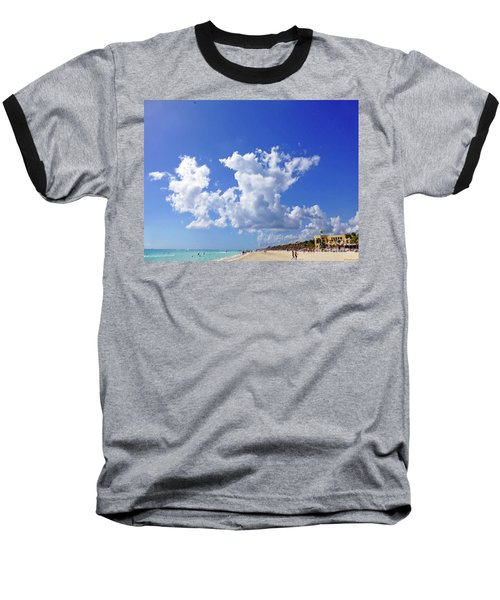 Baseball T-Shirt featuring the digital art M Day At The Beach by Francesca Mackenney