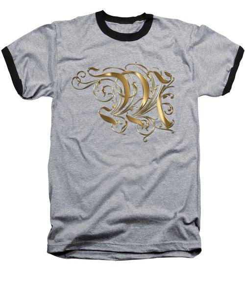 M Golden Ornamental Letter Typography Baseball T-Shirt by Georgeta Blanaru