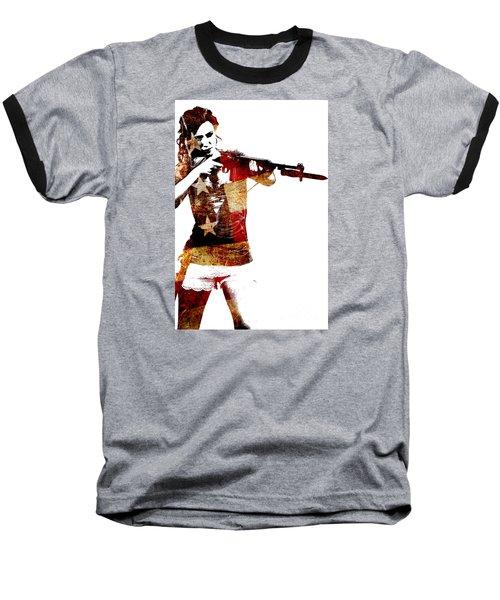 M1 Carbine And Bayonet Baseball T-Shirt by David Bazabal Studios