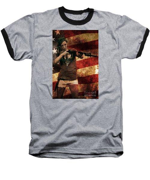 M1 Carbine On American Flag Baseball T-Shirt