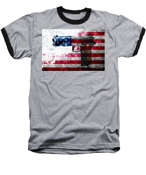M1911 Colt 45 And American Flag On Distressed Metal Sheet Baseball T-Shirt
