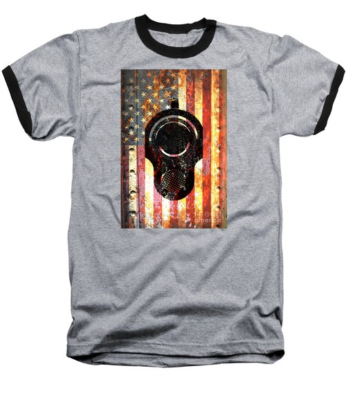 M1911 Colt 45 On Rusted American Flag Baseball T-Shirt by M L C