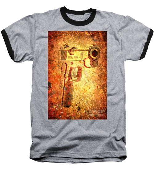 M1911 Muzzle On Rusted Background 3/4 View Baseball T-Shirt by M L C