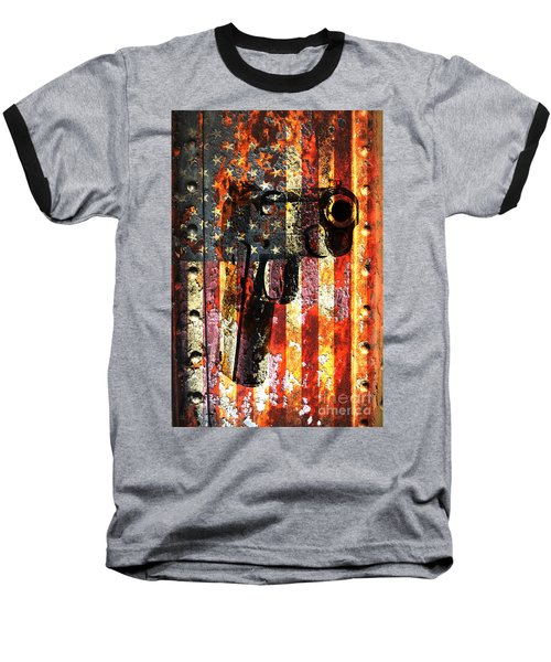 M1911 Silhouette On Rusted American Flag Baseball T-Shirt by M L C