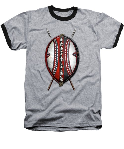 Maasai War Shield With Spears On Red Velvet  Baseball T-Shirt