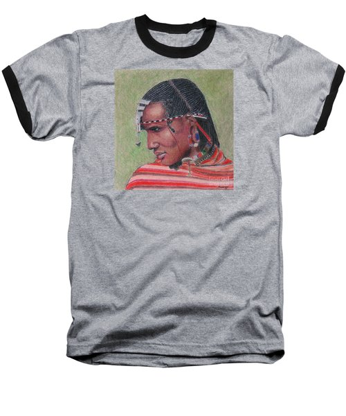 Maasai Warrior II -- Portrait Of African Tribal Man Baseball T-Shirt
