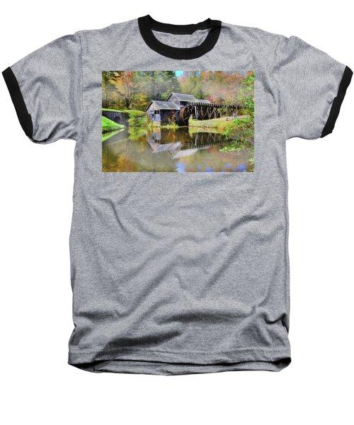 Baseball T-Shirt featuring the digital art Mabry Grist Mill by Sharon Batdorf