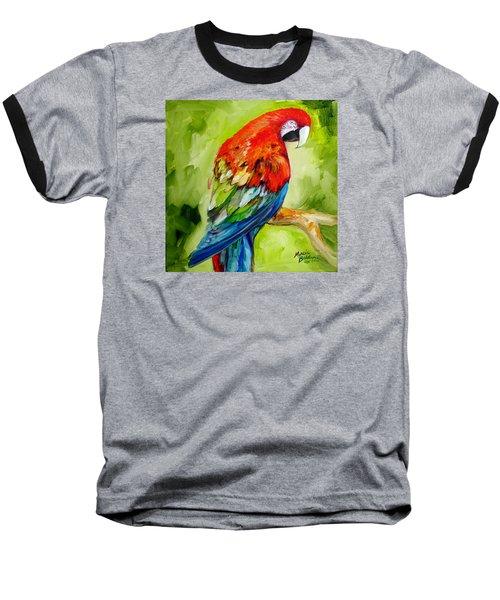 Macaw Tropical Baseball T-Shirt by Marcia Baldwin