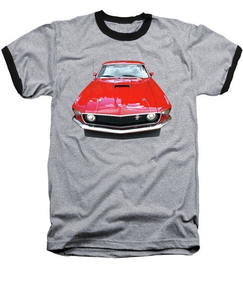 Mach1 Mustang 1969 Head On Baseball T-Shirt