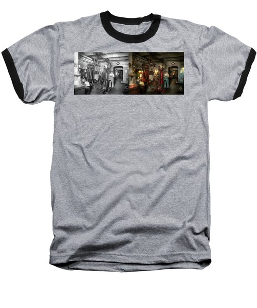 Baseball T-Shirt featuring the photograph Machinist - Government Approved 1919 - Side By Side by Mike Savad