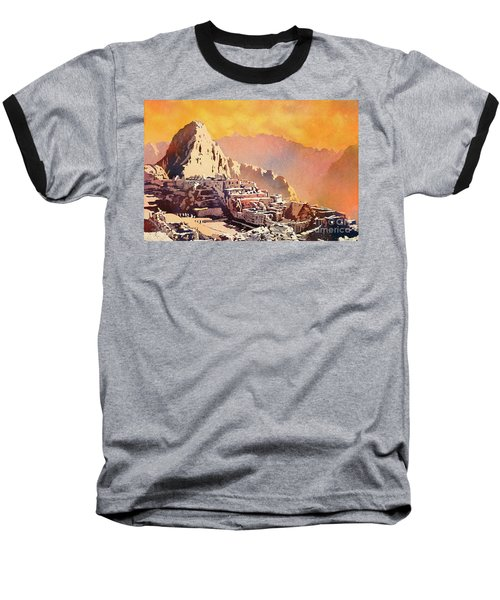 Baseball T-Shirt featuring the painting Machu Picchu Sunset by Ryan Fox