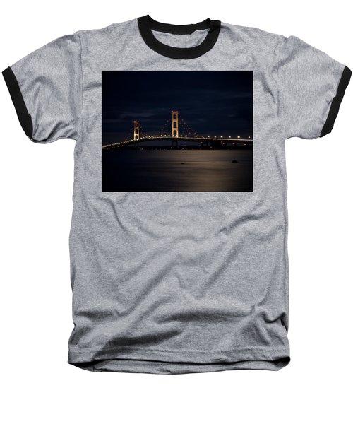 Mackinac Bridge At Night Baseball T-Shirt