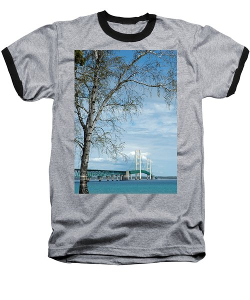 Mackinac Bridge Birch Baseball T-Shirt