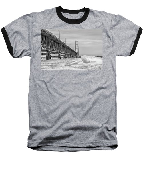 Baseball T-Shirt featuring the photograph Mackinac Bridge Icy Black And White  by John McGraw