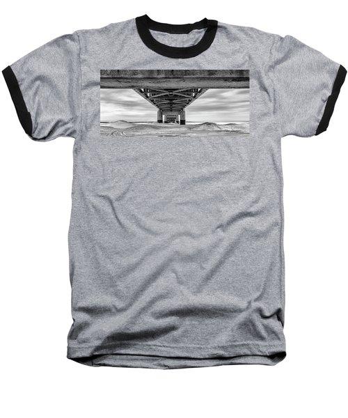 Baseball T-Shirt featuring the photograph Mackinac Bridge In Winter Underneath  by John McGraw