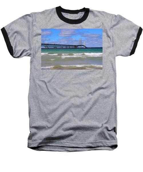 Mackinac Bridge Baseball T-Shirt by Michael Rucker