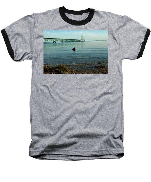 Baseball T-Shirt featuring the photograph Mackinac Bridge Michigan by LeeAnn McLaneGoetz McLaneGoetzStudioLLCcom