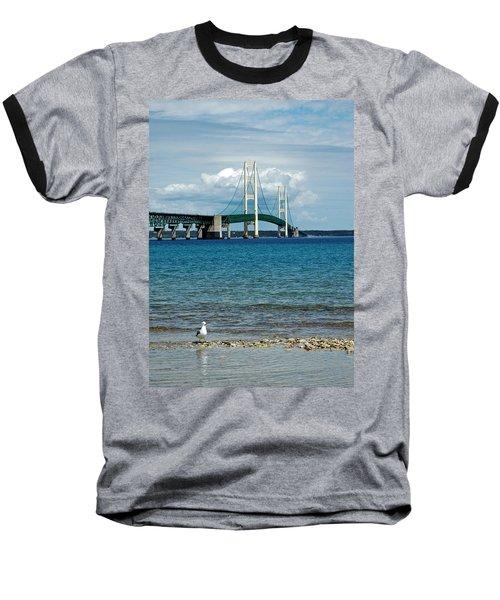 Baseball T-Shirt featuring the photograph Mackinac Bridge With Seagull by LeeAnn McLaneGoetz McLaneGoetzStudioLLCcom