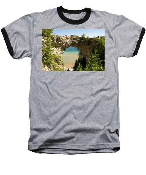 Mackinac Island Arch Baseball T-Shirt by Larry Carr